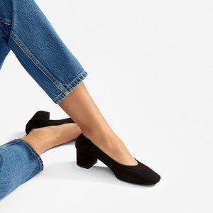 Everlane The Day Heel in Black Suede Leather 8.5